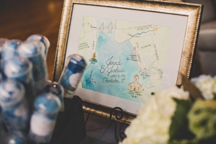 On the welcome table, Jenna and Joshua had a framed, hand-drawn map of the Charleston area that showed where their wedding venues were located.