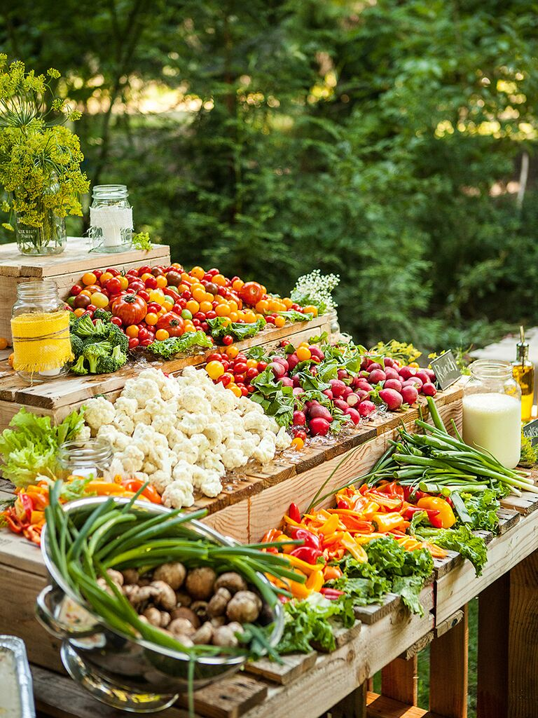 Fresh vegetable wedding reception food idea