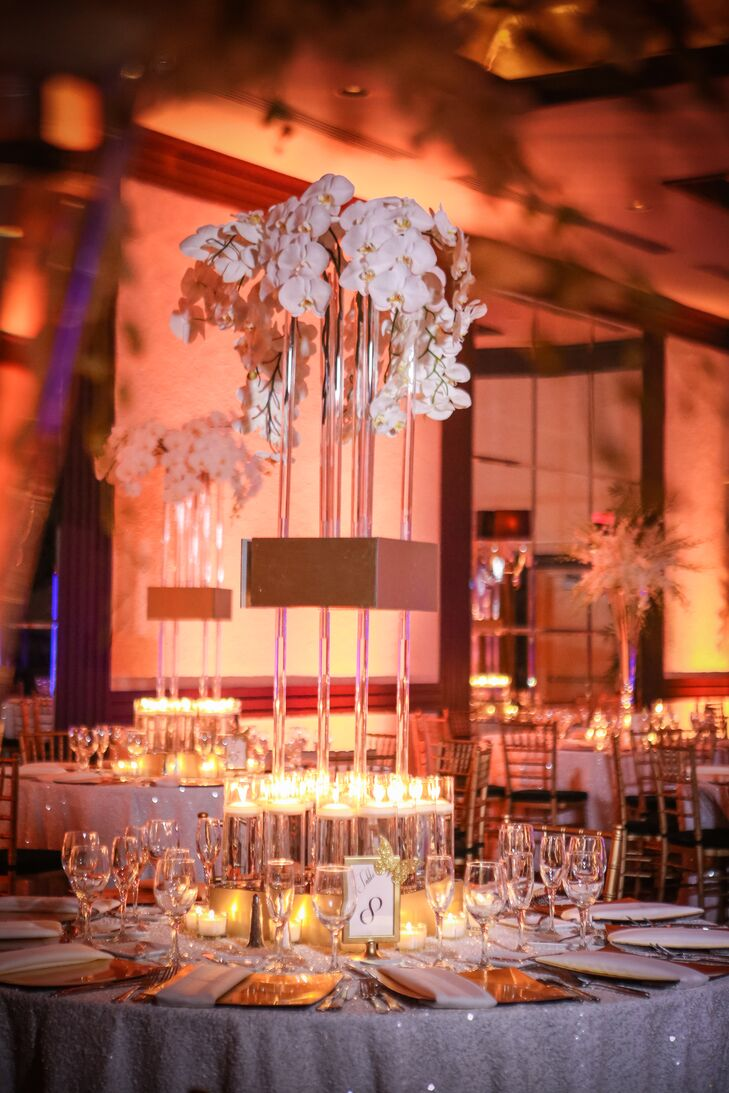 White Orchids in Tall Glass Vases