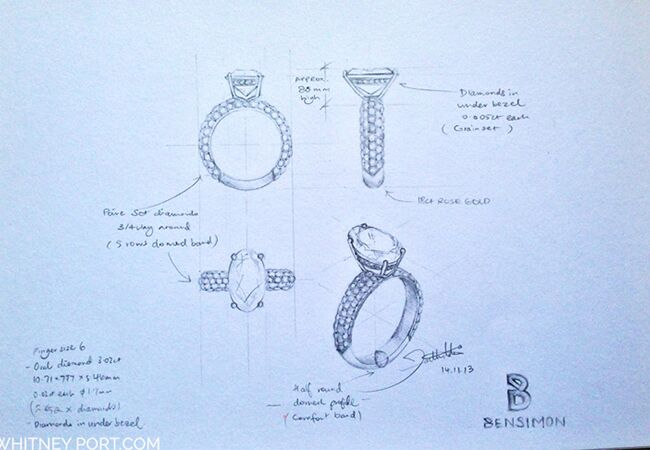 Whitney Port's engagement ring sketch