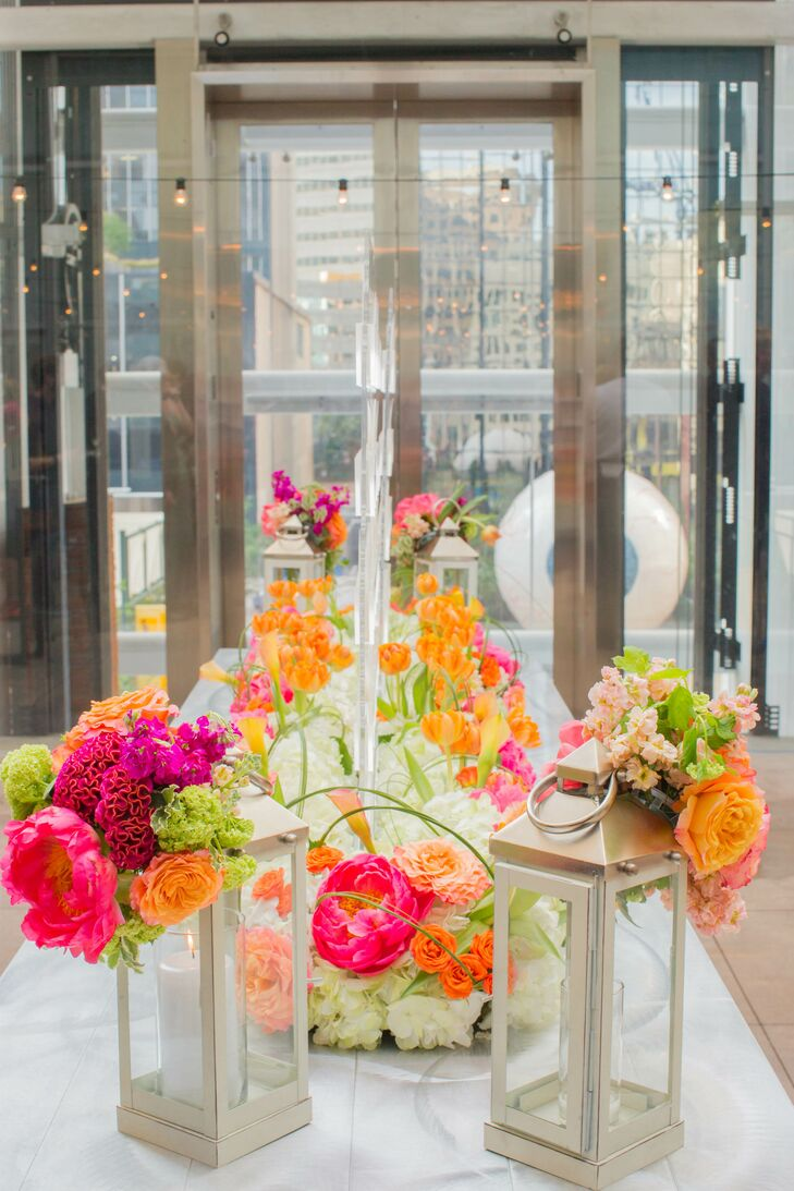 """""""A lot of guests commented on how beautiful that was,"""" Monica says of the colorful arrangement displayed near the elevator."""