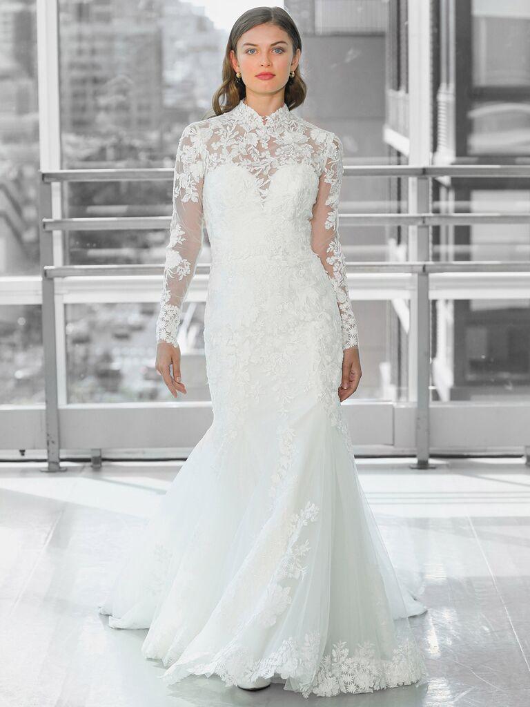 Justin Alexander Signature Wedding Dresses long sleeve illusion neckline gown