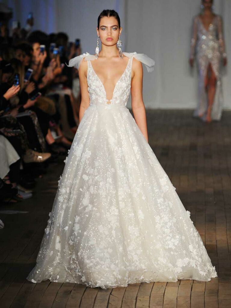 7969b533965a Berta Spring Summer 2019 Collection floral appliqué A-line wedding dress  with flutter sleeves