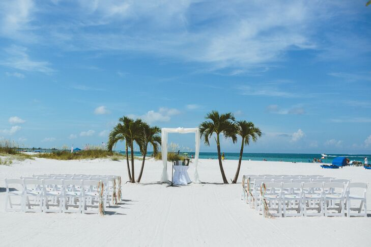 Simple White Ceremony Decor With Palm Trees