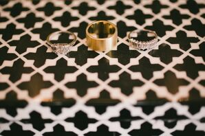 Diamond Engagement Ring and Gold Wedding Ring