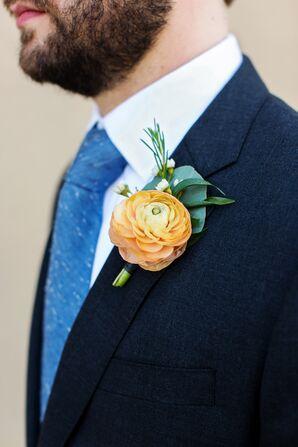Groom in Classic Dark Gray Suit With Blue Tie