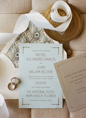Pale Blue Art Deco Invitations with Peacock Liners