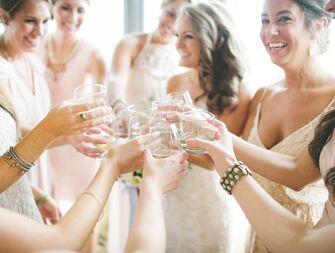 Bridesmaids making a toast