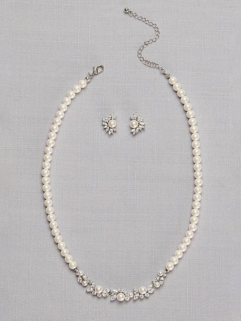 Pearl wedding necklace set