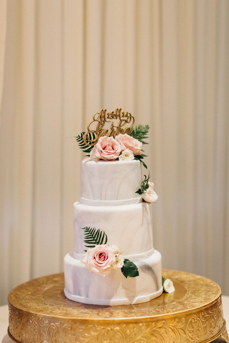 Marble Fondant Cake with Roses and a Topper