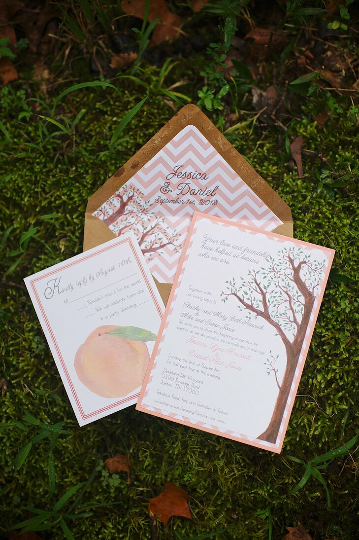 The invitations reflected the Southern aesthetic of the wedding by including a print of a peach and a tree on the paper, images that instantly transported guests to the outdoor venue before they even got there.