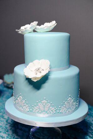 Turquoise Two Tier Wedding Cake