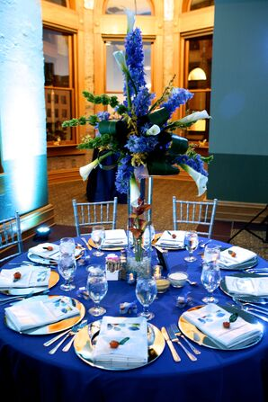 Tall Blue Reception Florals