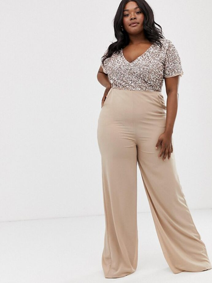 Taupe jumpsuit with sequin bodice