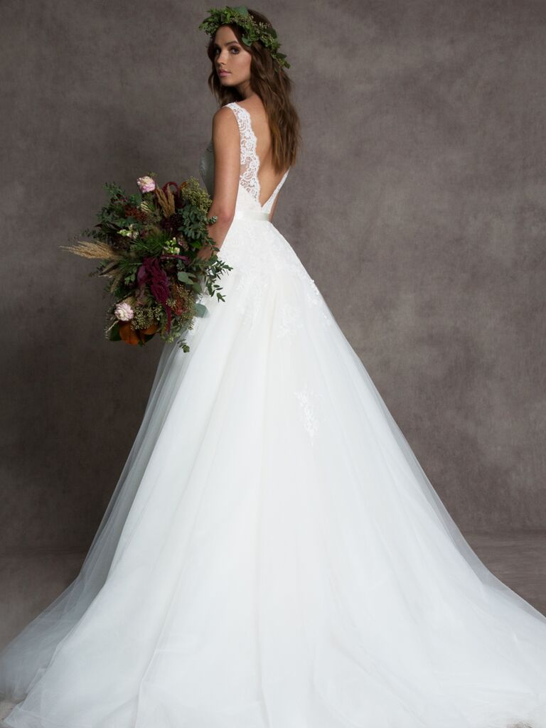 Romona New York Fall 2019 tulle ball gown wedding dress with lace bodice