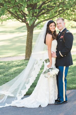 Groom in Army Uniform, Bride With Long Veil