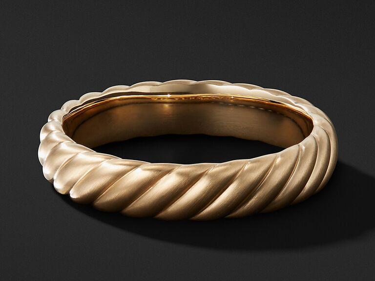 David Yurman 18-karat gold cable band wedding ring
