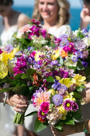 Color Wildflower Bridal Party Bouquets