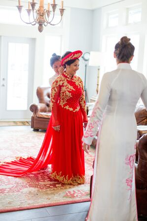 Red Ao Dai Gown