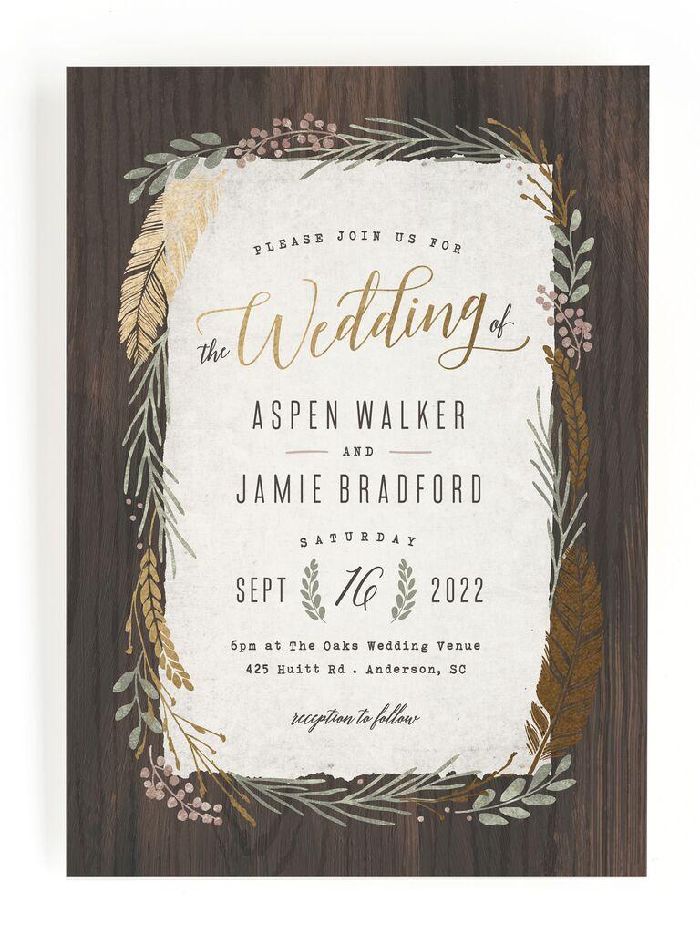 Rustic wood inspired fall wedding invitation