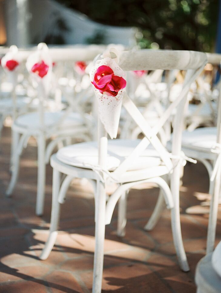 Rose Petal Aisle Decorations on White Cross-back Chairs
