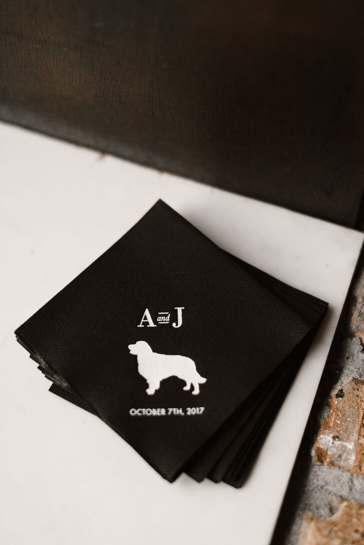 Cocktail Napkins with Personalized Pet Illustration