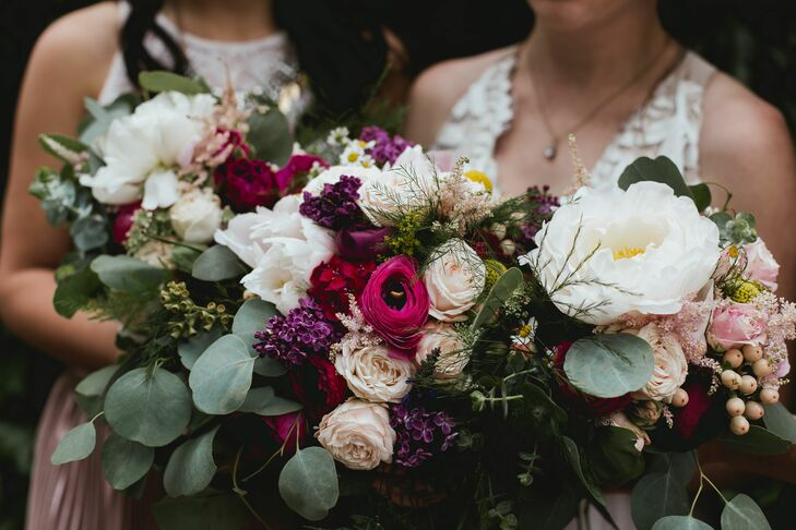 Modern Bouquet with Peonies, Roses and Eucalyptus Leaves