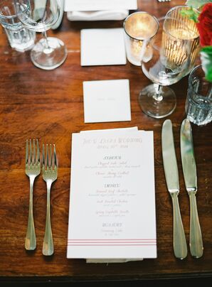 White Simple Menu Card on Table