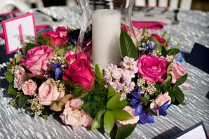 Pink Floral Wreath and Candle Centerpieces