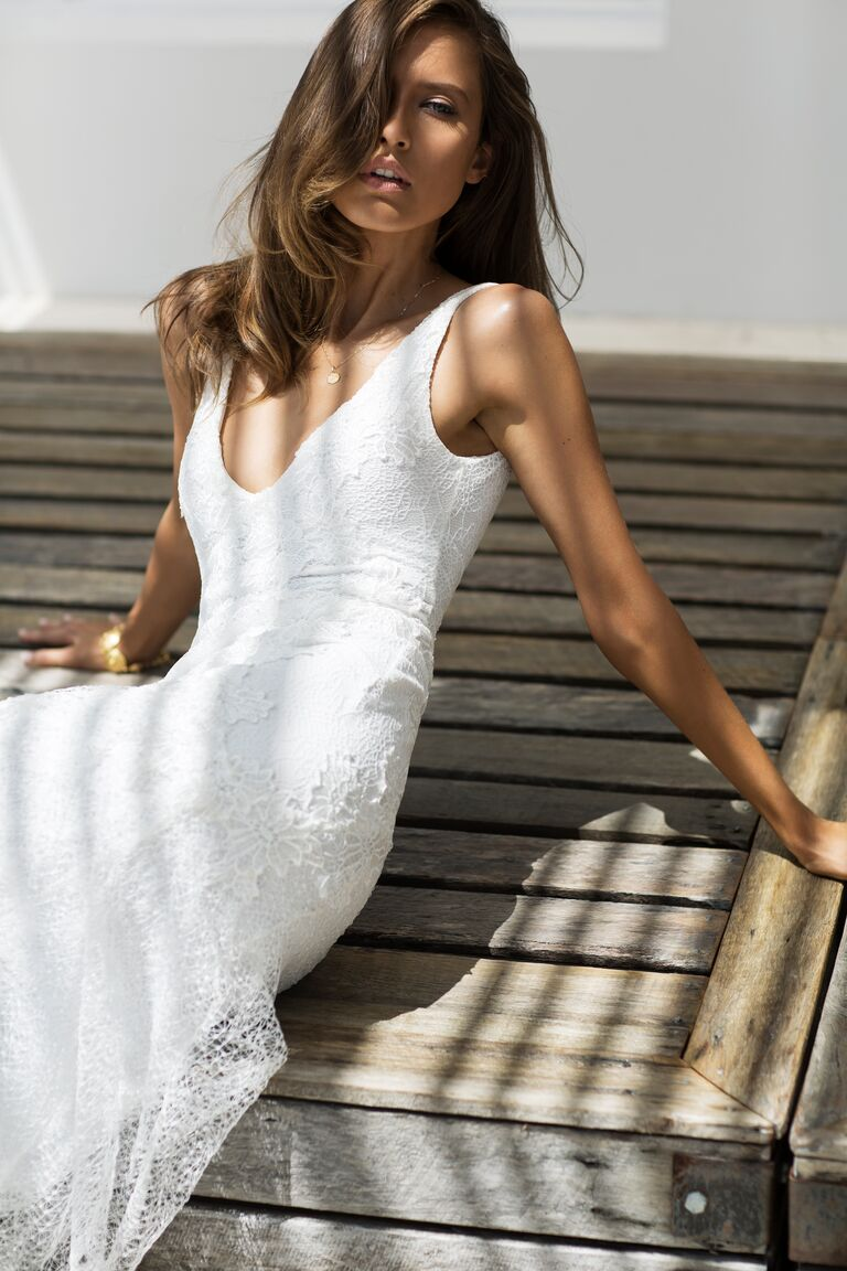 Grace Loves Lace Elixir Collection wedding gown with plunging neckline