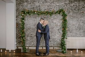 Same-Sex Couple Shares First Kiss at Modern Loft Wedding in New York City