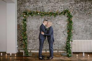 Same-Sex Couple Shares First Kiss at Modern Loft Wedding in New York City
