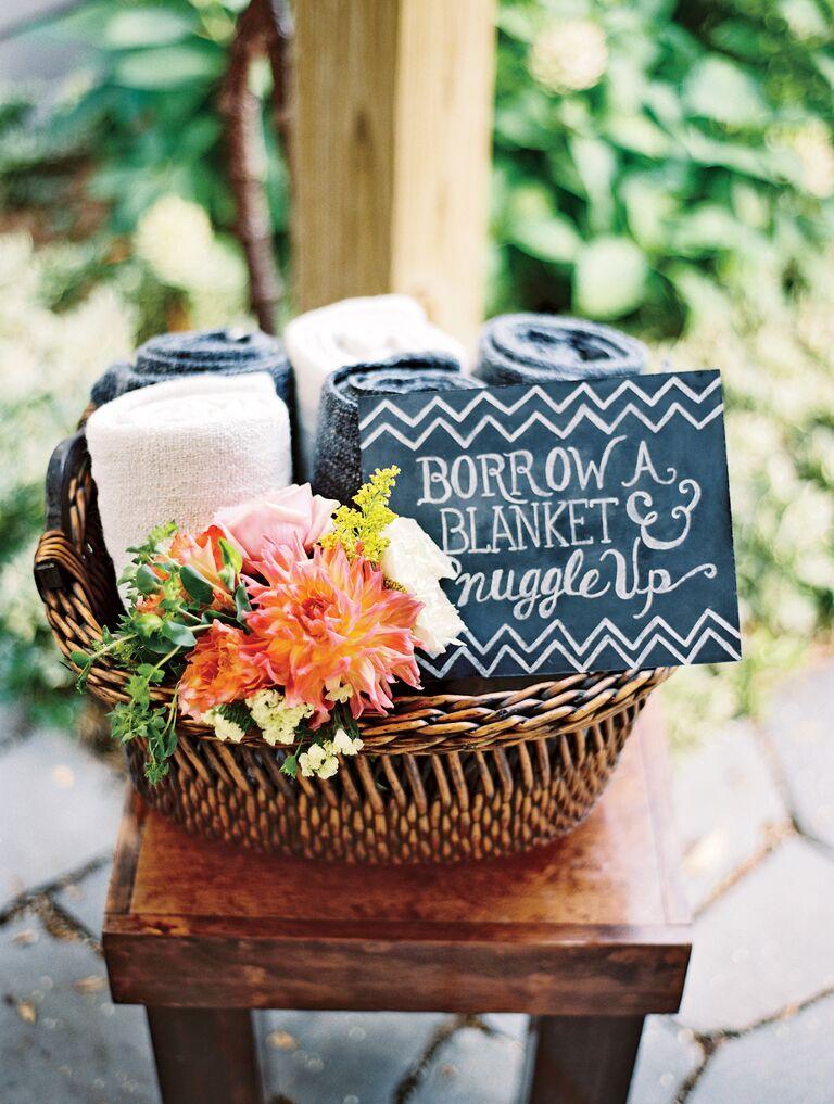 Blanket favor for wedding guests