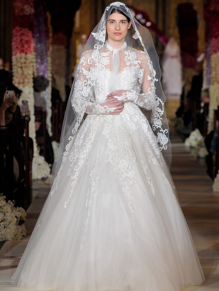 Reem Acra Spring 2020 Bridal Collection lace and tulle ball gown wedding dress