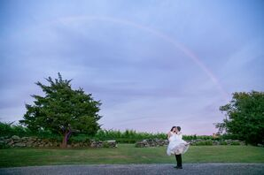 Bride and Groom with Rainbow in Connecticut