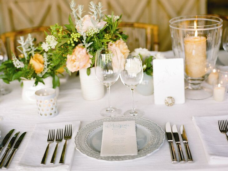 Pale blue chargers were set with calligraphed menus personalized with guests' names.