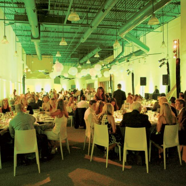 The chic green lighting gave the reception dinner an elegant lounge ambience.