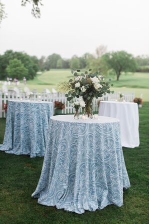 Pale Blue Patterned Cocktail Table Linens