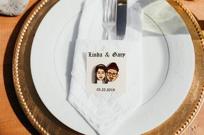 Simple Place Setting with Personalized Bitmoji Favor and Gold Charger