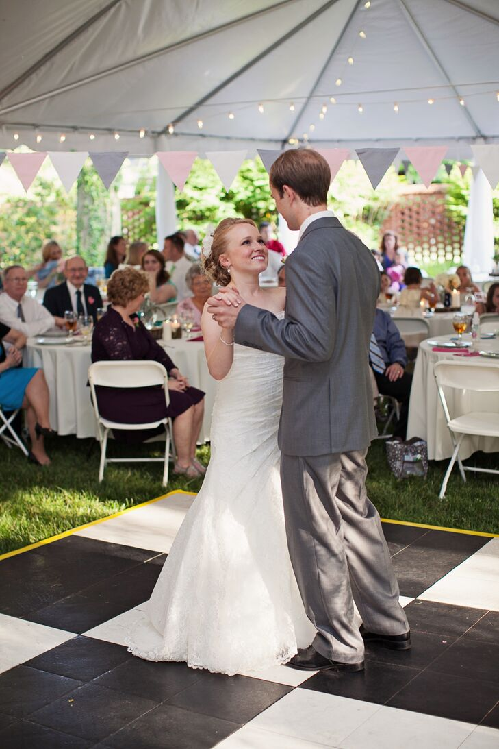 When the childhood sweethearts were growing up, they would walk to Shuford House and Garden from Emily's childhood home in Hickory, North Carolina. They used to sit in one of the giant trees and talk and kiss. The gardens were always stunning, so Emily and Alex couldn't think of anywhere else to have their reception. They rented a tent and dance floor for the celebration.