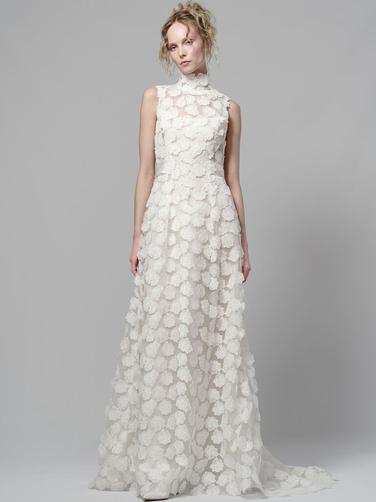 Elizabeth Fillmore Spring 2019 wedding gown with allover appliqués