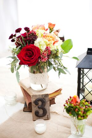 Rustic Mason Jar Centerpieces with Wood Table Numbers