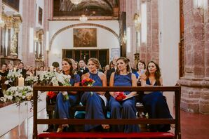Long Blue Joanna August Bridesmaid Gowns