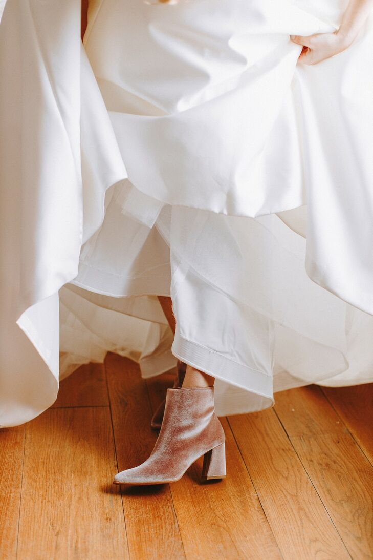 Neutral-Colored Suede Bridal Booties