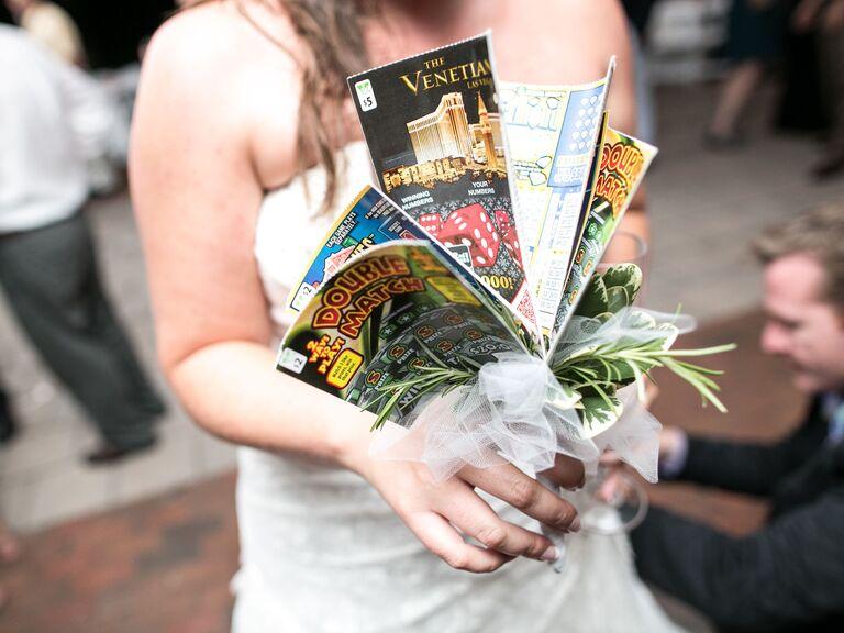 unique magazine wedding bouquet idea