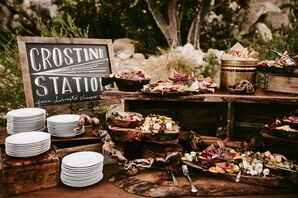 Crostini Station at Outdoor Reception