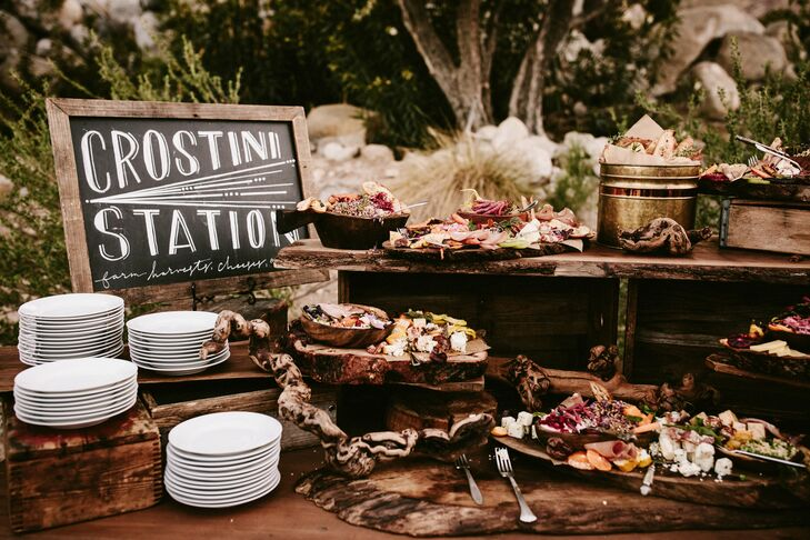 At the reception at Frederick Loewe Estate in Palm Springs, California, guests snacked on a fully loaded crostini bar.