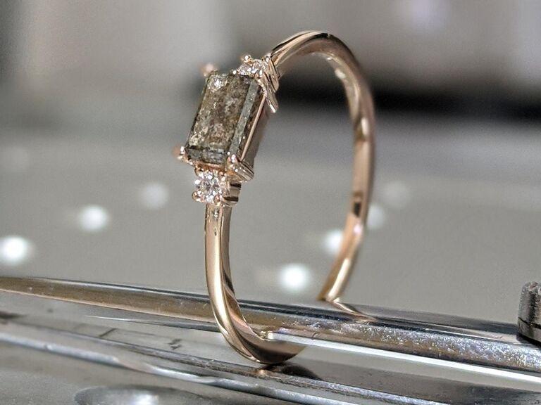BravermanOren emerald baguette raw salt and pepper diamond gold engagement ring