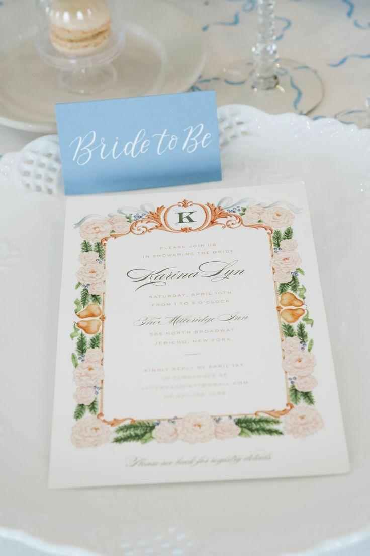 Ornate monogrammed bridal shower stationery