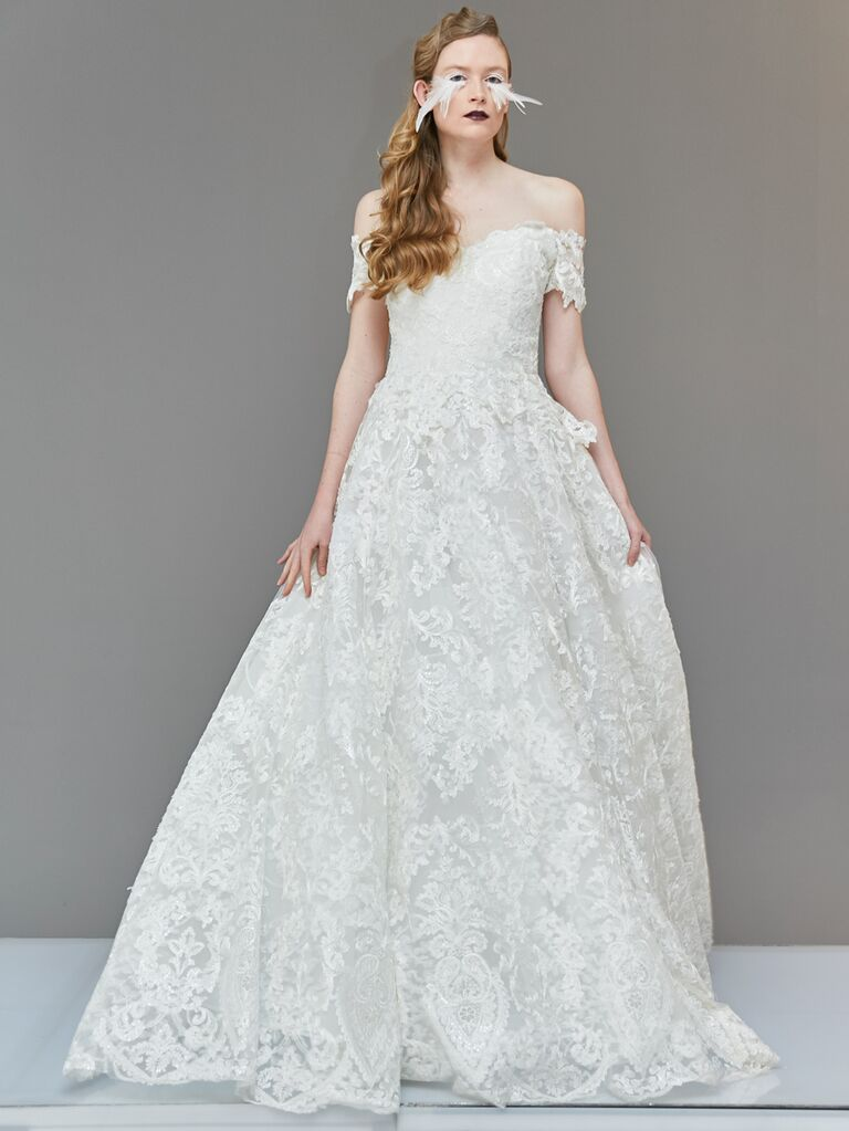 Francesca Miranda Spring 2020 Bridal Collection off-the-shoulder A-line wedding dress